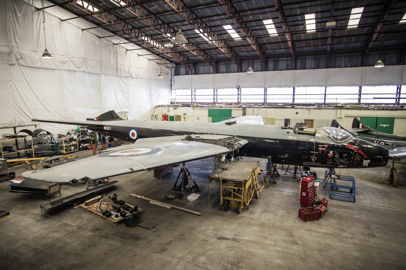 Canberra aircraft under restoration in a hanger